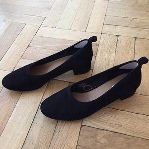 Leather mid heel suede pumps
